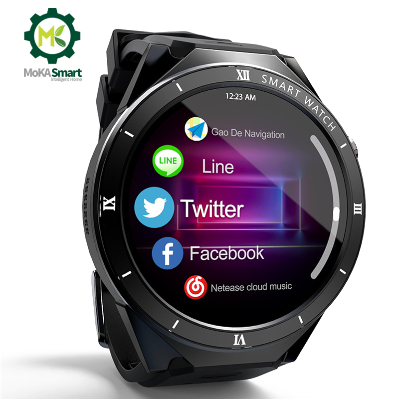 Smartwatch Android Support APP download WI-FI SIM card 1GB+16GB GPS sport record Pedometer Heart rate monitor Smart watch men image
