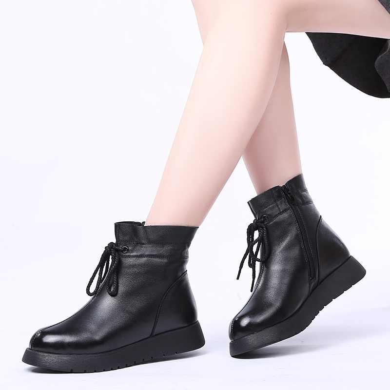 DRKANOL 2019 Wasserdichte Frauen Schnee Stiefel 100% Echtem Leder Wolle Plattform Stiefeletten Für Frauen Winter Pelz Warme Flache Schuhe