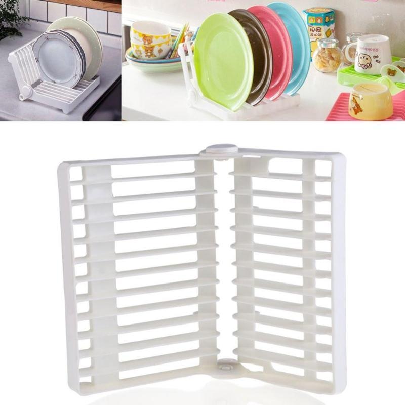 Kitchen Foldable Dish Plate Drying Rack Organizer Drainer Plastic Storage Kitchen Tools Cooking Dish Tray Tableware Shelf Gadget