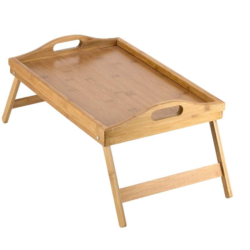 HOT-Portable Folding Table Bed Tray Table With Folding Legs And Breakfast Tray Bamboo Bed Table And Bed Tray With Legs
