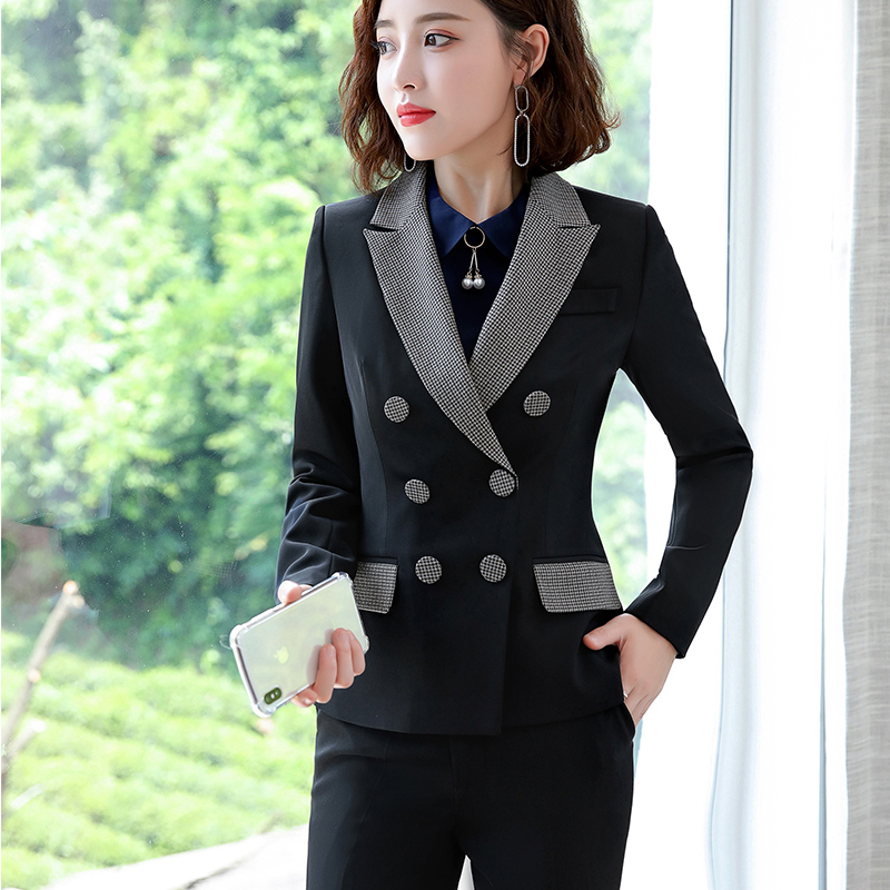 Lenshin High-quality 2 Piece Set Houndstooth Formal Pant Suit Blazer Office Lady Design Women Soft Jacket and Full-Length Pant 26
