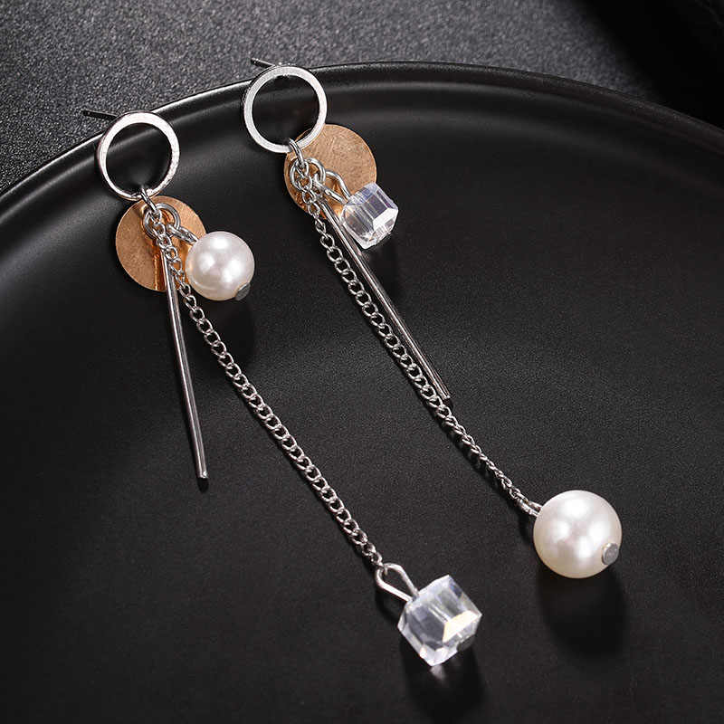 Hot Sale Long Silver Tassel Pearl Cube Crystal Drop Earrings Statement Asymmetry Fashion Jewelry Earrings for Women Party Brinco