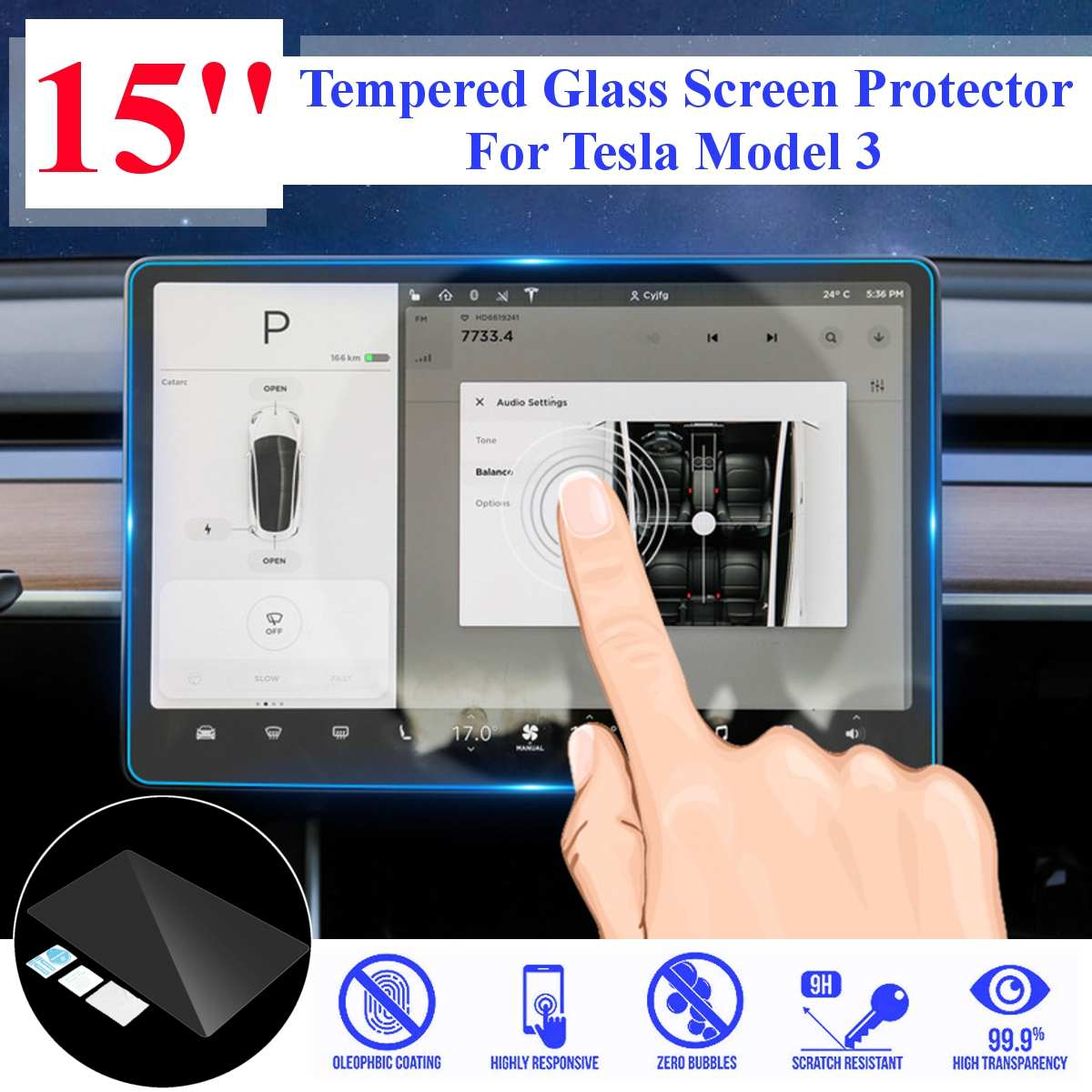 1 pcs 15 Car Navigation Touch Screen Transparent Protector 9H Anti-Glare 0 3mm Tempered Glass For Tesla Model 3