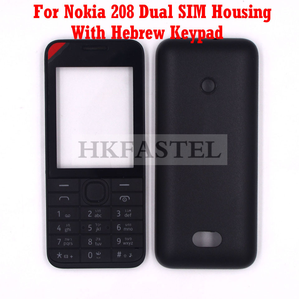 For Nokia 208 Dual SIM Card New Mobile Phone Housing Cover Case + Engilish / Russian / Hebrew Keypad