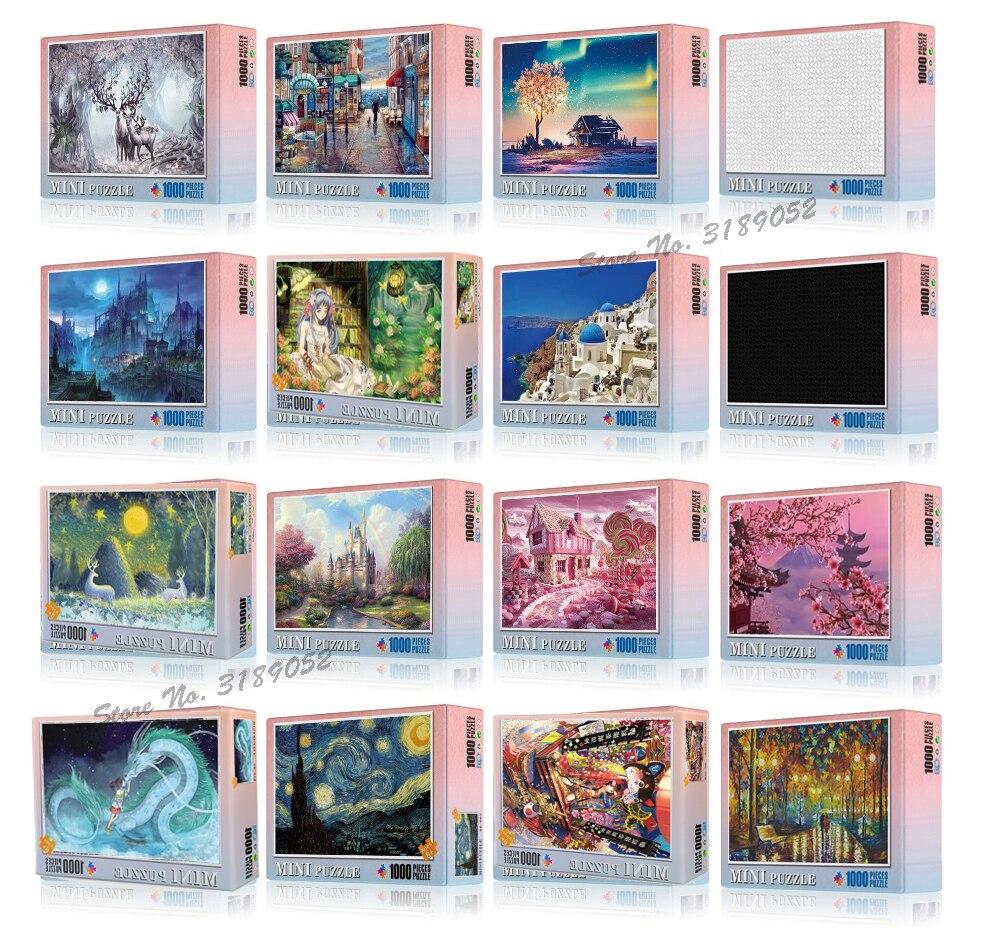 Quebra-cabeças para pintura a óleo, quebra-cabeças pintura famosa do mundo van gogh, pintura a óleo, adulto, crianças, diy, criatividade, imagine, brinquedos 1000 pçs/set