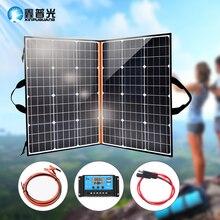 פנל סולארי מתקפל ערכת 120w נייד מטען סולארי 12v 5v usb עבור RV רכב סירת ואן caravana טלפון חיצוני קמפינג בית מערכת