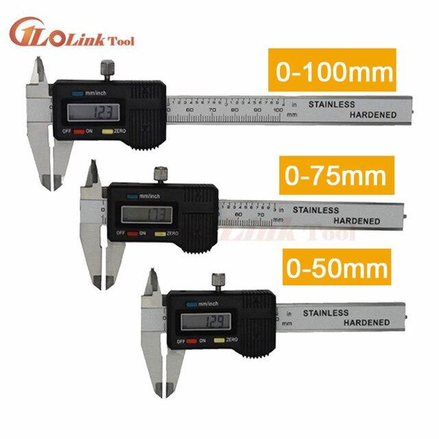 Mini kieszeń suwmiarka cyfrowa ze stali nierdzewnej 50mm 70mm 100mm elektroniczny suwmiarka suwmiarka Gem grubościomierz