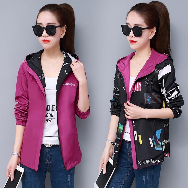 New Women Jacket Streetwear Hooded Printed Coat Causal Windbreaker Female Reversible Baseball Zippers Basic Jacket Plus Size 4XL