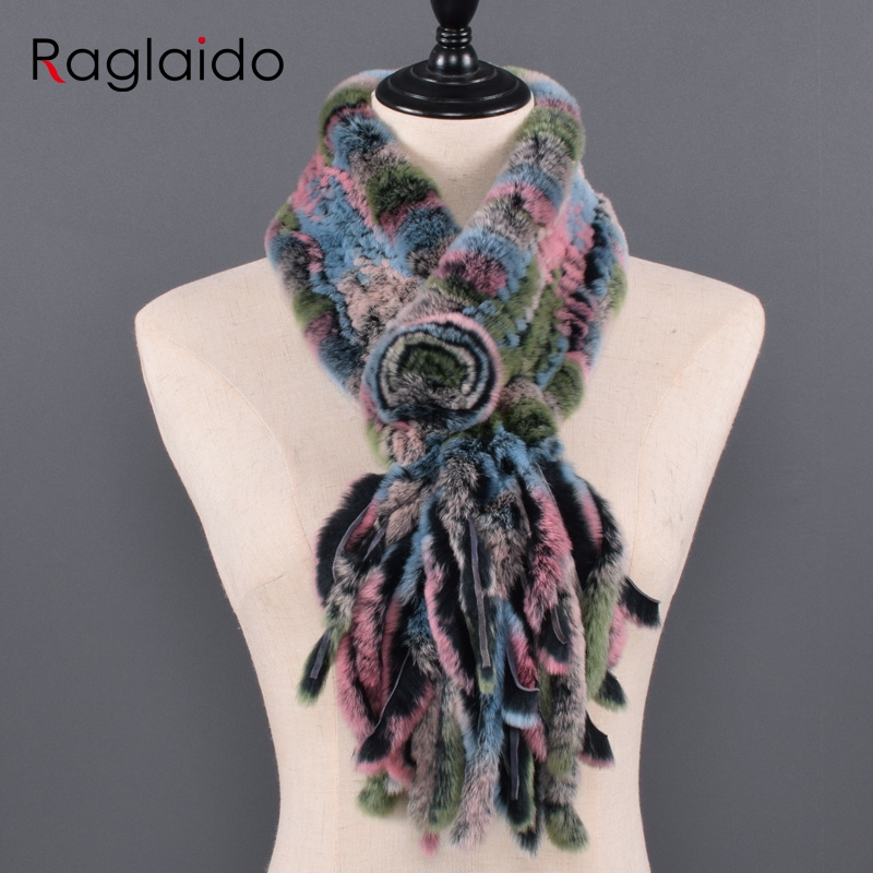 New Real Rabbit Fur Tassel Scarves Hand Made Women Winter Scarf Fluffy Soft In Winter Warm For Russian Ladies Natural Rabbit Fur