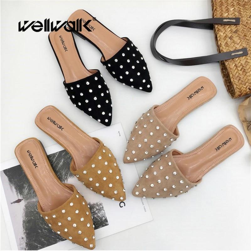 Brand Slippers Women Mules Shoes Rhinestone Ladies Flats Slides Female Slip On Flats Shoes Pointed Toe Shoes Female Flat Sandals