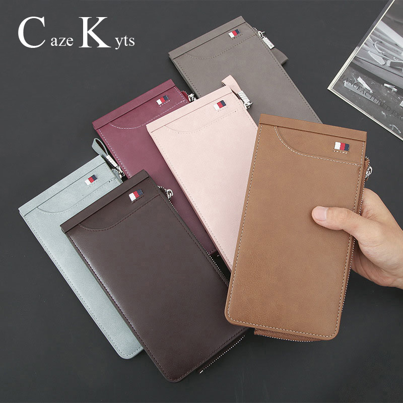 New Men's And Women's Long Wallet Casual Retro Fashion Oil Wax Leather 26 Card Multi-function Card Bag Wallet