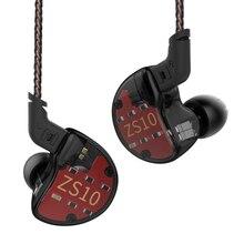 Ak Kz ZS10 4BA + 1DD Hybrid In Ear Oortelefoon Hifi Running Sport Oortelefoon Oordopje Headset Oordopjes Kz ZS7 AS10 AS16 Zsn Pro Zsx AS12