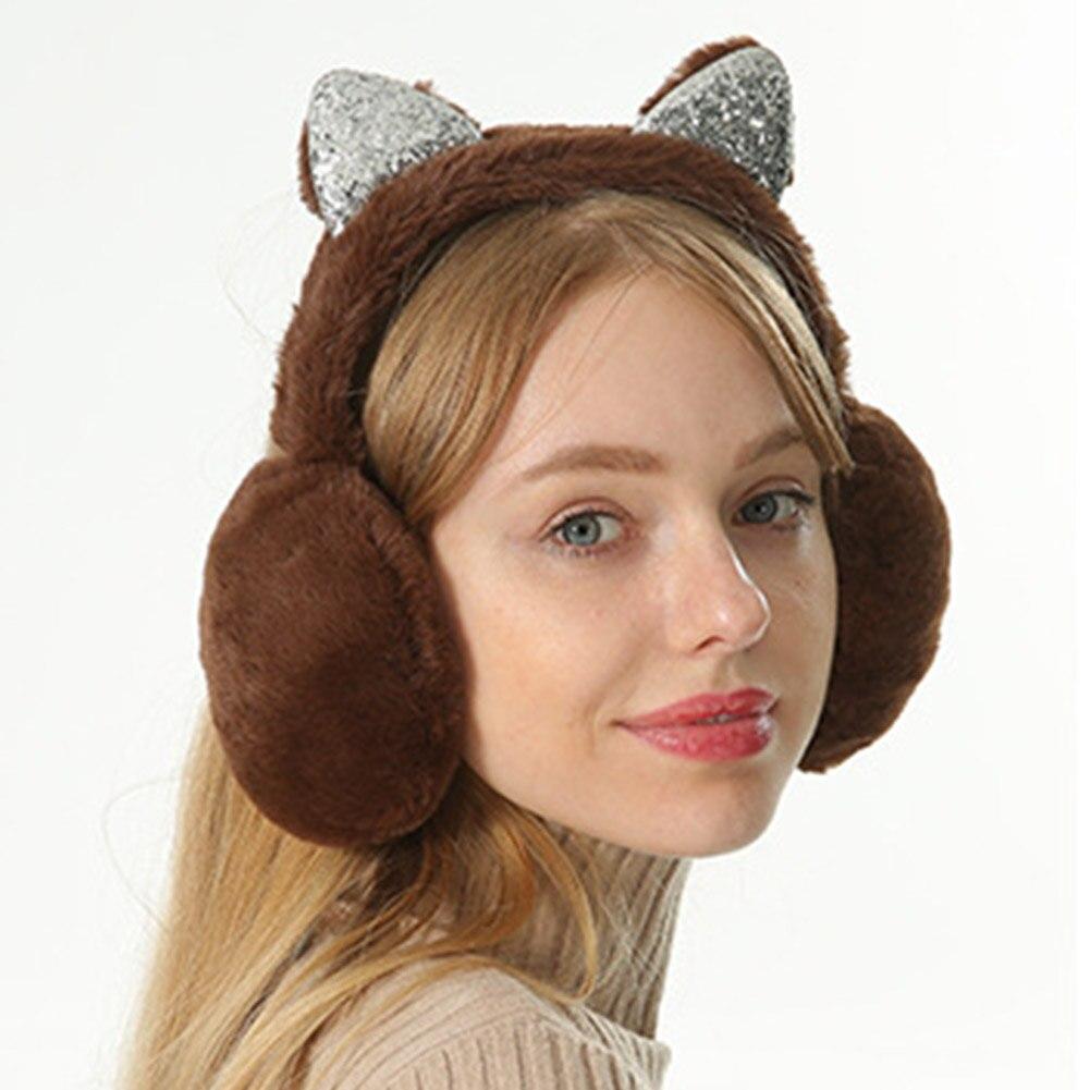 Women Earmuffs Cartoon Cat Ears Windproof Ears Warm Adjustable Earmuffs A66