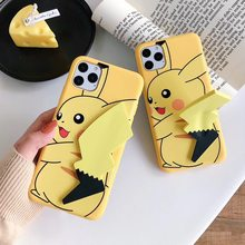 For iPhone 6 7 8 Plus X Xs Xs Max XR 11 Pro Max Case Pika Tail Holder Phone Case Cover For Huawei P20 30 lite Pro Mate 30 20(China)
