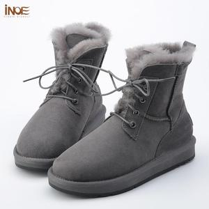 Image 3 - INOE Sheepskin Leather Wool Fur Lined Men Lace Up Short Ankle Winter Snow Boots For Man Casual Shoes Waterproof Black Brown Grey