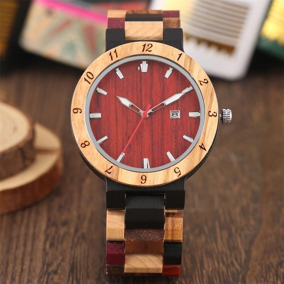 Men's Watch Calendar Bracelet Display Male-Clock Wooden Quartz Masculino Clasp Timepiece
