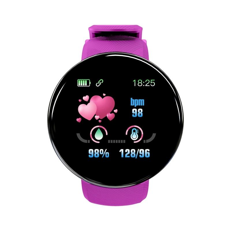 D18 Bluetooth Smart Watch Men Women Blood Pressure Round Watch Waterproof Sport Tracker WhatsApp For Android Ios-Purple