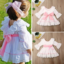 Lace Ruffle Girl's Dress 3/4 Flare Sleeve A-line Dresses For Girls 2020 New Arrival O-neck Kids Princess Dress D30 women ruffle layered v neck dresses casual high waist flare sleeve a line dress 2019 summer fashion vintage printed dresses