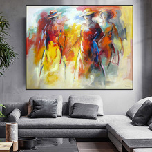 World famous paintings Wearing a hat abstract painting Woman playing the guitar printed oil on canvas Wall art picture