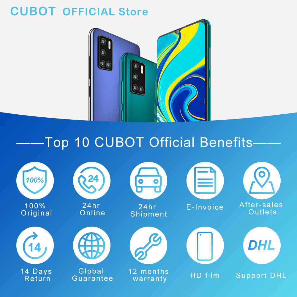 Cubot P40 Smartphone NFC 4GB+128GB Rear Quad Camera 20MP Selfie 6.2 Inch 4200mAh Android 10 Dual SIM Card mobile phone 4G LTE 5