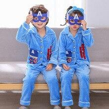 Pajamas Captain-America Suit Costume Disney Ironman Flannel Girls Thick Winter Boys Cartoon