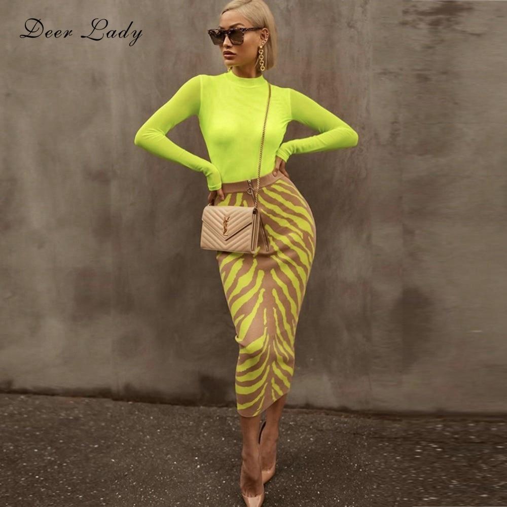 Cerf Lady 2019 femmes jupe vert taille haute Bandage jupe été Jacquard jupe crayon longue moulante Bandage jupe Club de fête
