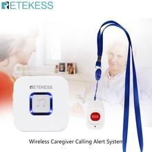 Retekess, система вызова для дома, аварийный пейджер, беспроводной дверной звонок, приемник и SOS, одна кнопка, пейджер для пожилых людей