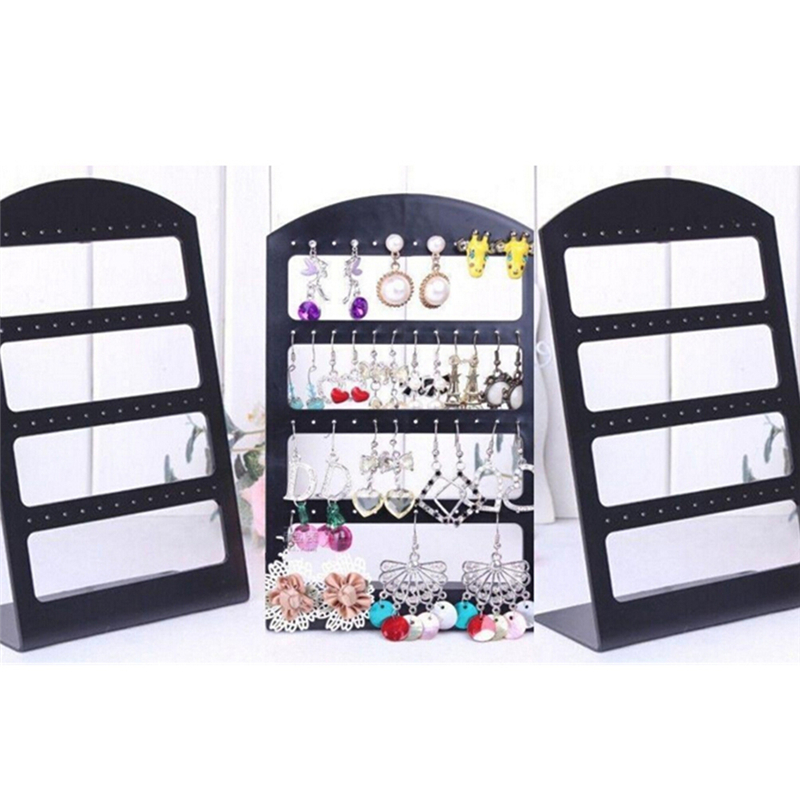 24/48 Holes Earrings Rack Display Stand Black/Clear Portable Ear Studs Holder Plastic Jewelry Organizer Box Packaging & Display