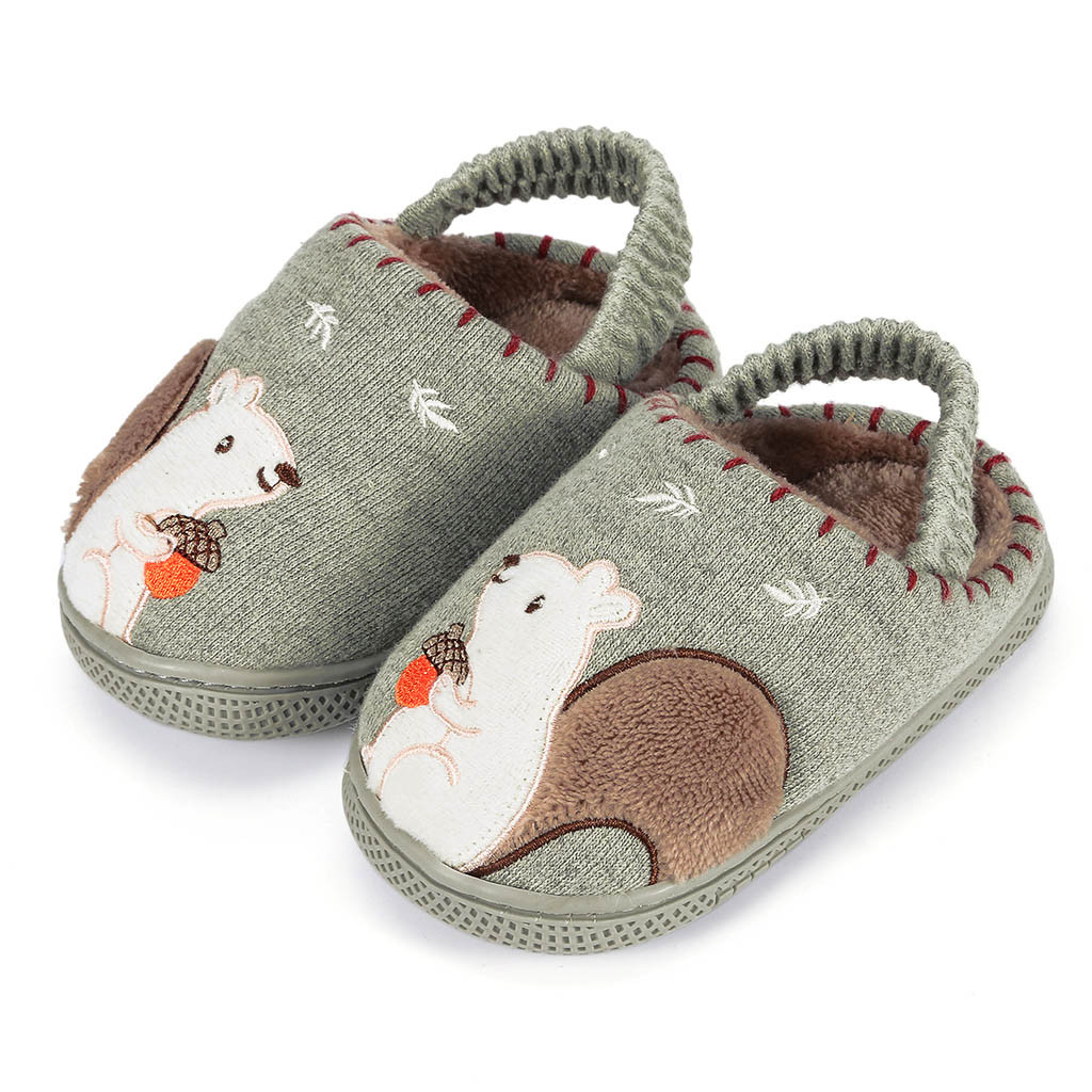 Тапочки для маленьких мальчиков и девочек; зимняя теплая пушистая обувь для детей; милые домашние тапочки с животными; детская бархатная домашняя обувь - Цвет: Green