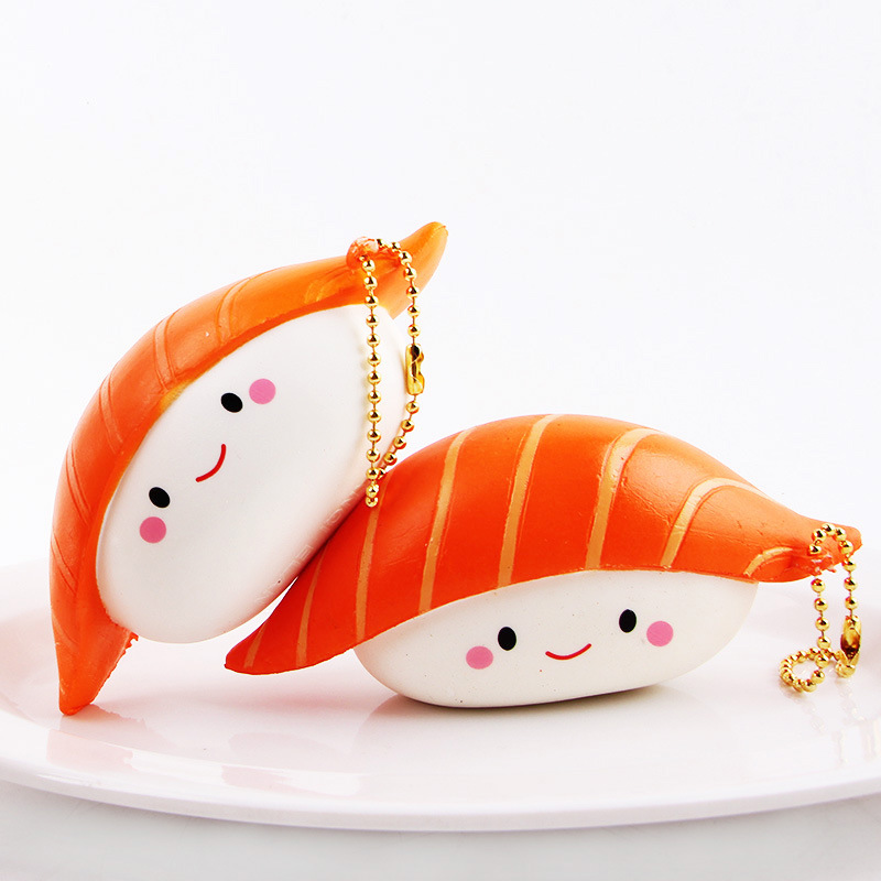 Kawaii Jumbo Squishi Rice Ball Salmon Decompression Toys Squishy Slow Rising Cream Scented Squeeze Toys