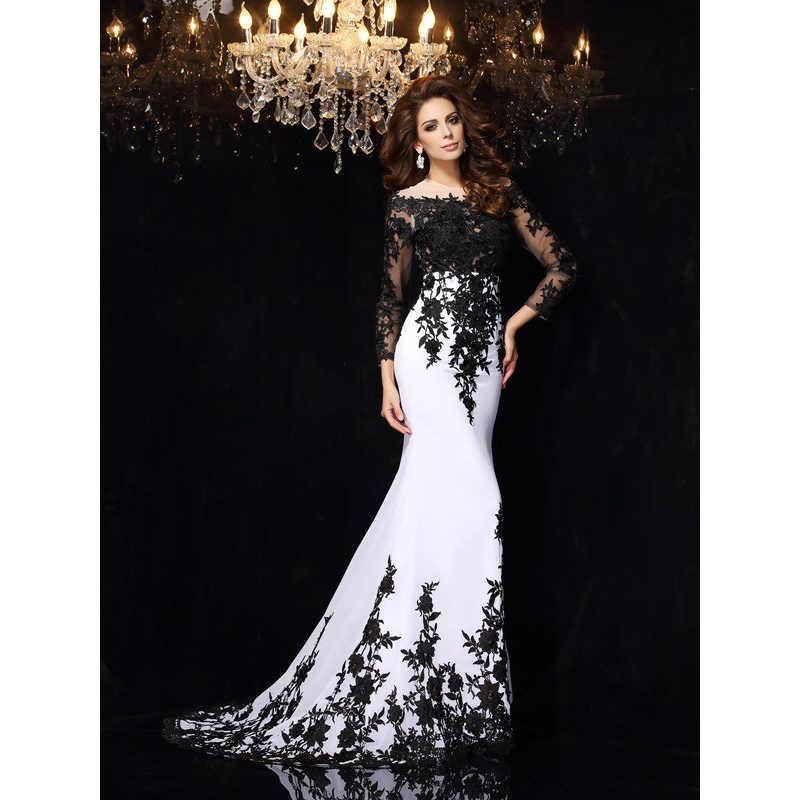 אלגנטי ערב שמלות שחור ולבן חצוצרה/בת ים סקופ תחרת Applique ארוך שרוולים ארוך שיפון שמלות נשף 2020