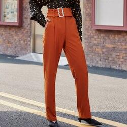 AEL Primavera sottile elegante Delle Donne di alta Pantaloni a vita con la cinghia Femminile ufficio delle signore di Autunno lungo Allentato Pantaloni color Caramello
