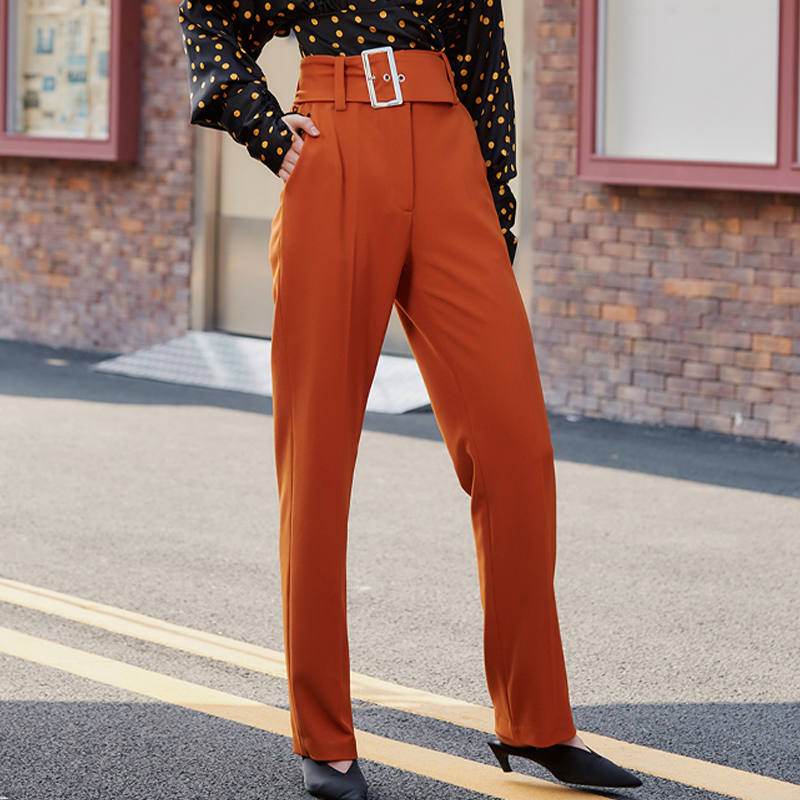 AEL Spring Elegant Slim Women Hight Waist Pants With Belt Female Office Ladies Autumn Loose Long Trousers Caramel Color