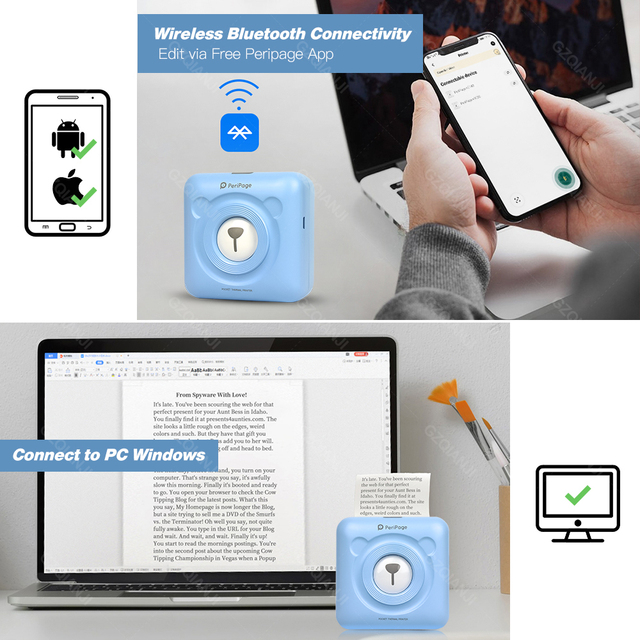 A6 304DPI 2 Peripage Portable Bluetooth 4.0 Thermal Photo Printer Wireless Inkless Mini Pocket Label Notes Printer Papers 3