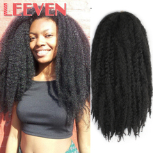 Leeven 18 #8221 5PCS lot Afro Marley Braids Hair Crochet Braids Hairstyle Synthetic Braiding Hair Extension Fluffy Twist cheap High Temperature Fiber 20strands pack Pure Color synthetic braid hair