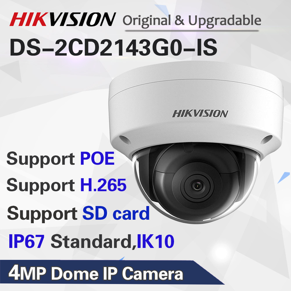 HikVISION Dome CCTV IP Camera Outdoor DS-2CD2143G0-IS 4MP IR Network Security Night Version Camera H.265 with SD Card Slot IP 67 image