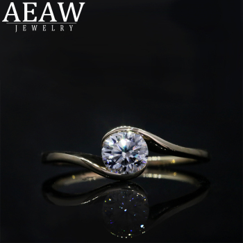AEAW Moissanite Ring For Women Concise 6.5mm 1.0 ct DF Color Round Cut S925 10k 14k Yellow Gold Engagement Fashion Jewelry image