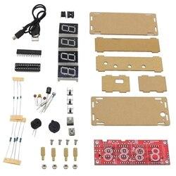 HOT Geekstyle 4 cyfrowy Ds1302 wyświetlacz Led Diy inteligentny precyzyjny zegar zestaw z przypadku dla Arduino w Wyświetlacze od Elektronika użytkowa na