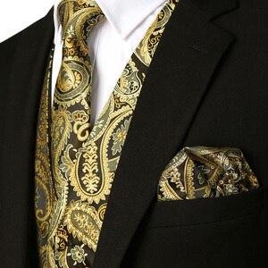 Image 5 - 3pc Sets/Mens Suit Vest+Tie+Pocket Square/Fashion Jacquard Paisley Tuxedo Vest Waistcoat Men/Wedding Vest/Prom Vest/Party Vest