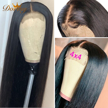Wigs Human-Hair Lace Straight with Middle-Part Natural Black-Color Closure Brazilian