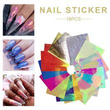 16PCS Nail Art Sticker Fire Flame Decal Aurora Applique DIY Manicure Stickers