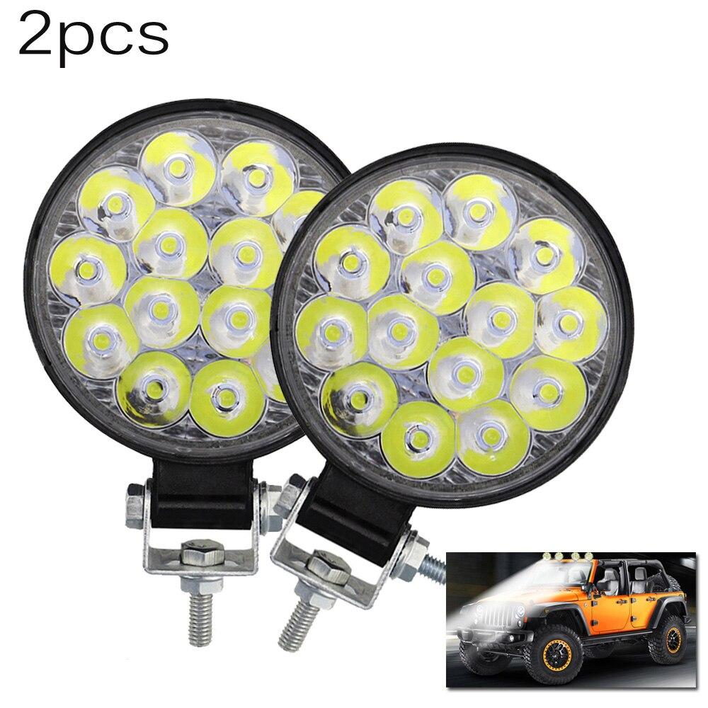 Car Truck 42W 6000-6500K 12V 24V Round LED Work Spot Light Bulb Driving Lamp