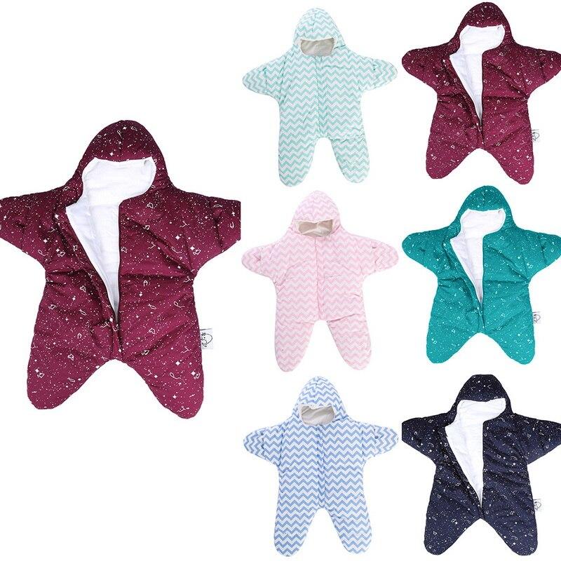 Oeak 2020 Newborn Starfish Cartoon Baby Sleeping Bag Quilted Baby Sleeping Bag Anti-kick Is Thickened By Autumn And Winter