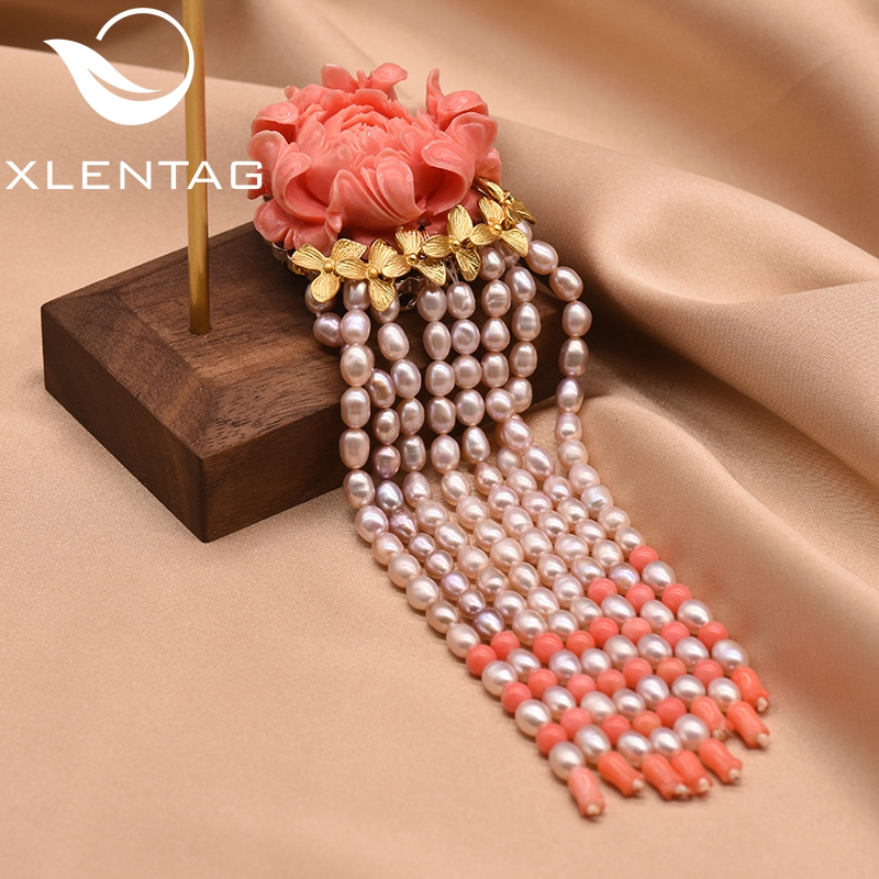XlentAg Luxury Coral Flower Natural Fresh Water Pearl Tassel Brooches For Women Pendant Dual Use Handmade Fine Jewelry GO0040