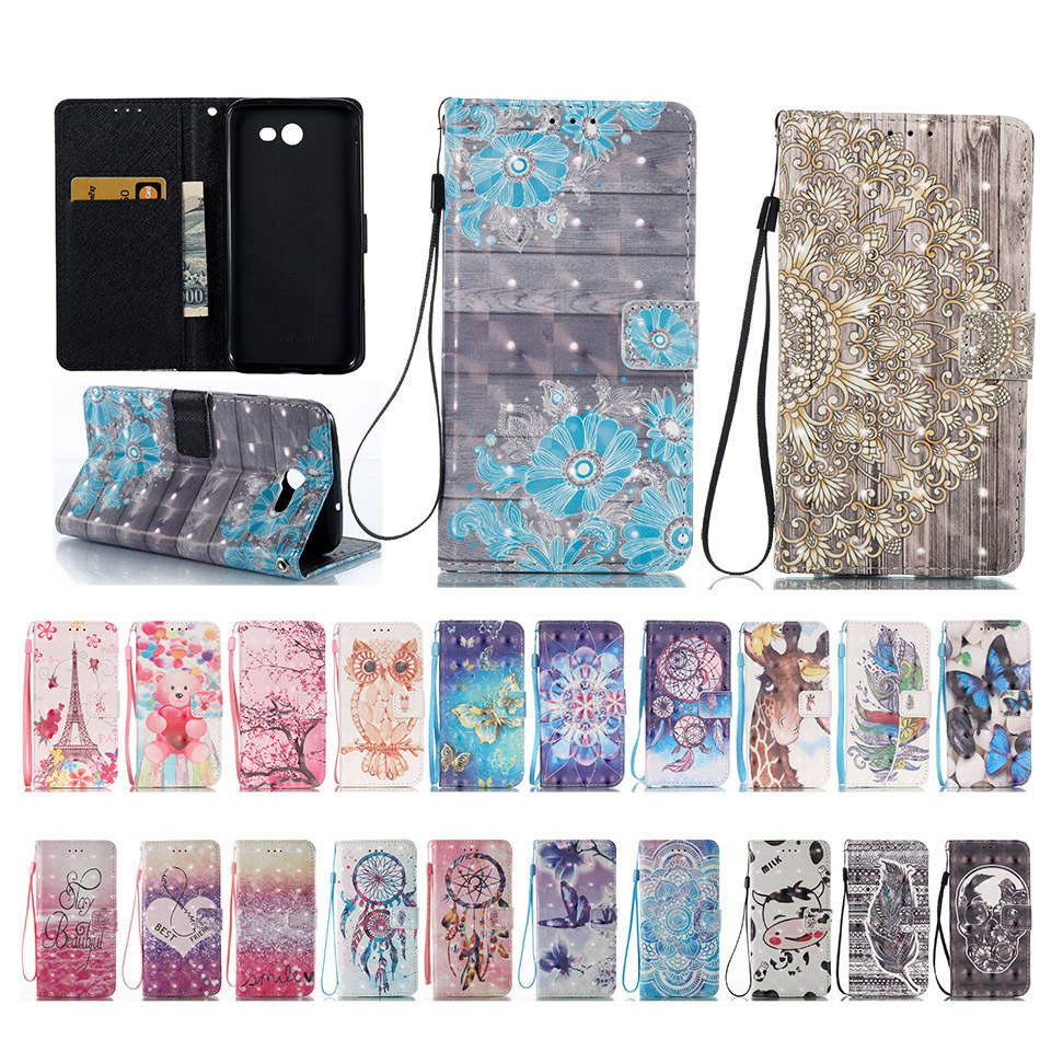 New 3D Phone Cases For Samsung Galaxy J3 J5 J7 A3 A5 2016 2017 SM- A310 A510 J320 J510 S7 Edge PU Leather Bag image
