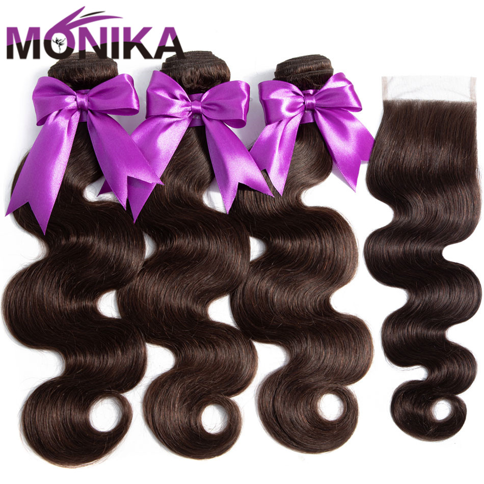 Monika Hair #2 Dark Brown Colored Bundles With Closure Malaysian Body Human Hair Weave With Closure Non-Remy Pre Colored Weaves