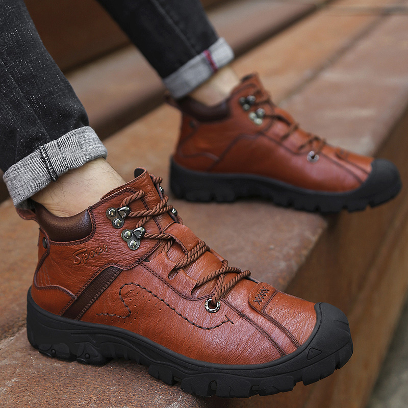 Men Genuine Leather Boots High Quality Ankle Boots Spring Autumn And Winter Man Shoes Ankle Boot Men's Snow Shoes Sneakers