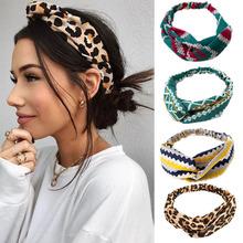 Modne kwiatowe wzory węzeł kobiety z pałąkiem na głowę Vintage Hairband Girls nakrycia głowy Leopard z pałąkiem na głowę akcesoria do włosów tanie tanio Szyfonowa WOMEN Dla dorosłych Opaski Moda GEOMETRIC f924 Hair Accessories Chiffon hairbands Hair Ring order above $150 freeshipping by DHL EMS TNT