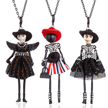 HOCOLE Fashion Long Chain Doll Pendant Necklaces Handmade Hat Wing Shiny Fur Dress Crystal Statement Necklace Women Jewelry