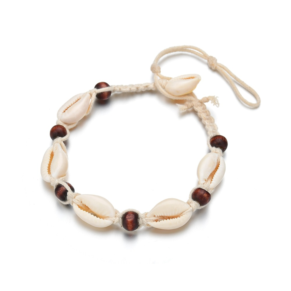 Hello Miss Fashion anklet accessories Bohemian beach handmade woven shell womens jewelry